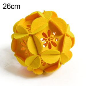 Classroom Decoration Non-woven Flower Ball Three-dimensional Wicker Pendant, Size: 26cm (Yellow)