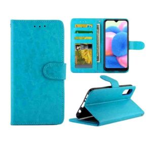 For Galaxy A30s/A50 Crazy Horse Texture Leather Horizontal Flip Protective Case with Holder & Card Slots & Wallet & Photo Frame(Baby Blue)