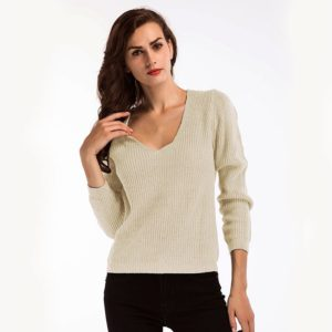 Long Sleeve Deep V-neck Loose Casual Base Sweater (Color:White Size:One Size)
