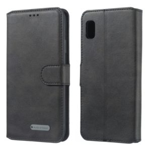 For Galaxy A10e Solid Color Buckle Horizontal Flip Leather Case with Wallet & Holder & Card Slots(Black)
