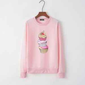 Long Sleeve Ice Cream Print Sweatershirt (Color:Pink Size:S)