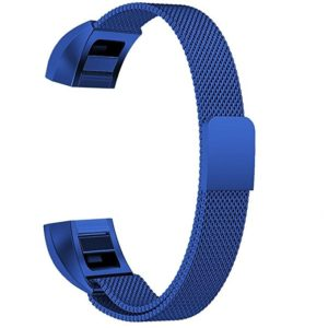 Stainless Steel Magnet Wrist Strap for FITBIT Alta,Size:Small,130-170mm (Blue)