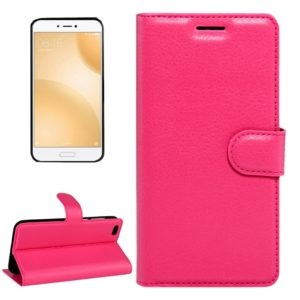 For Xiaomi Mi 5c Litchi Texture Horizontal Flip Leather Case with Magnetic Buckle & Holder & Card Slots & Wallet(Magenta)