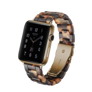 Simple Fashion Resin Watch Strap for Apple Watch Series 5 & 4 44mm & Series 3 & 2 & 1 42mm(Tortoiseshell)