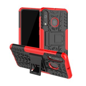 Shockproof PC + TPU Tire Pattern Case for Galaxy A60, with Holder (Red)