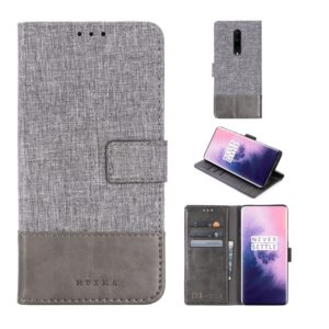 For OnePlus 7 Pro MUXMA MX102 Horizontal Flip Canvas Leather Case with Stand & Card Slot & Wallet Function(Grey) (MUXMA)