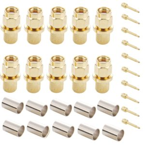10 PCS Gold Plated SMA Male Plug Crimp RF Connector Adapter for RG58 / RG400 / RG142 / LMR195 Cable
