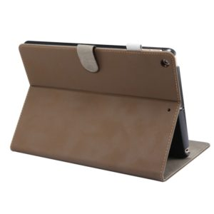 For iPad 10.2 (2019) ENKAY Stand Folio Cover Leather Smart Case with Auto Sleep / Wake-up Function(Dark Brown) (ENKAY)