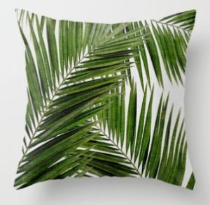 Tropical Plants Pillow Case Polyester Decorative Pillowcases Green Leaves Throw Pillow Cover Square 45CM x45CM(24)