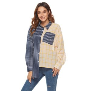 Women Striped Check Plaid Pocket Long Sleeve Shirt(Color:As Show Size:S)