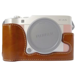 1/4 inch Thread PU Leather Camera Half Case Base for FUJIFILM X-A5 / X-A20(Brown)