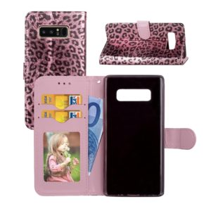 For Galaxy Note 8 Leopard Pattern Horizontal Flip Leather Case with Holder & Card Slots & Wallet & Photo Frame & Lanyard (Rose Gold)
