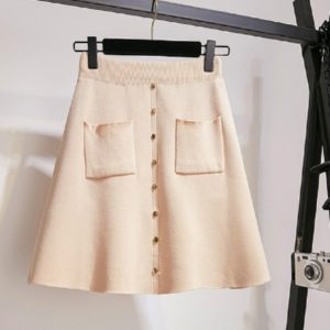 Autumn and Winter Solid Color Buckle High Elastic Knit Skirt, Size: One Size( Beige White )
