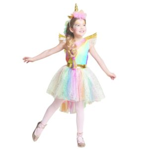 Dress Rainbow Unicorn Party With Headband Halloween Christmas Cosplay Costume Summer Dress(L)