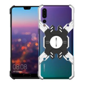 For Huawei P20 Hero Series Anti-fall Wear-resistant Metal Protective Case with Bracket(Silver Black)