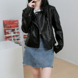 Women Slim PU Leather Motorcycle Jacket (Color:Black Size:S)
