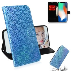 For iPhone X / XS Solid Color Colorful Magnetic Buckle Horizontal Flip PU Leather Case with Holder & Card Slots & Wallet & Lanyard(Blue)