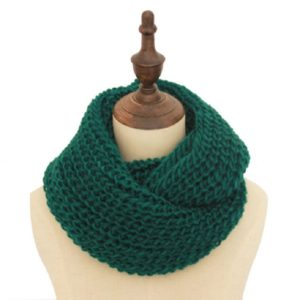 Autumn and Winter Knit Solid Color Thick Wool Thickened Warm Scarf(Dark Green)