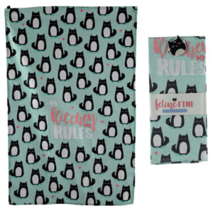 Fun Cat Design Poly Cotton Tea Towel