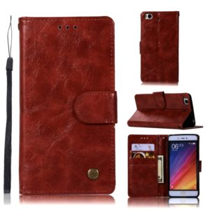 For Xiaomi Mi 5S Retro Copper Button Crazy Horse Horizontal Flip PU Leather Case with Holder & Card Slots & Wallet & Lanyard(Wine Red)