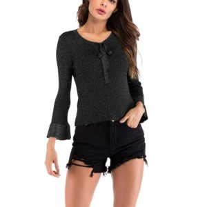 Autumn and Winter Solid Color Long-sleeved Pullover Sweater (Color:Black Size:XL)