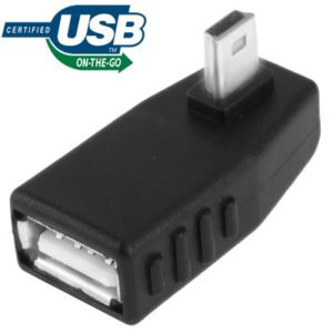 Mini USB Male to USB 2.0 AF Adapter with 90 Degree Left Angled, Support OTG Function(Black)