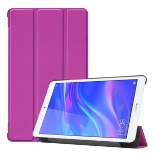 Solid Color Custer Texture Horizontal Flip PU Leather Case for Huawei Honor Tab 5 8.0, with Three-folding Holder (Purple)