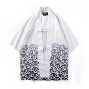 Digital Print Kimono Loose Seven-point Sleeve Shirt for Men and Women(Color:11008# Size:L)