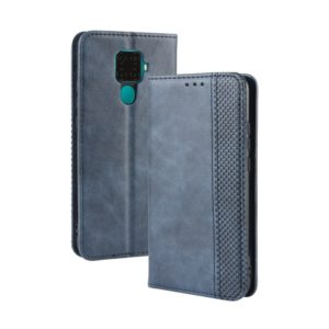 Magnetic Buckle Retro Crazy Horse Texture Horizontal Flip Leather Case for Huawei Nova 5i Pro / Mate 30 Lite, with Holder & Card Slots & Photo Frame(Blue)