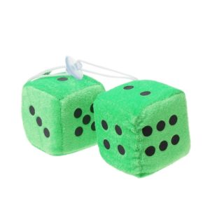 12PCS Fuzzy Doll Sucker Pendant Creative Sponge Dice Rear View Mirror Hanger Car Decoration Styling Accessories Green, Size:4cmx4cmx4cm