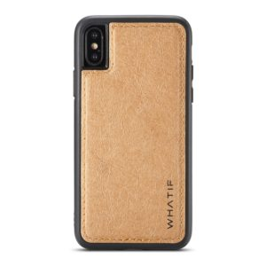 For iPhone XS Max WHATIF Kraft Paper TPU + PC Full Coverage Protective Case(Brown) (WHATIF)