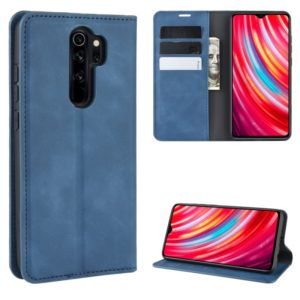 For Xiaomi Redmi Note 8 Pro Retro-skin Business Magnetic Suction Leather Case with Holder & Card Slots & Wallet(Dark Blue)