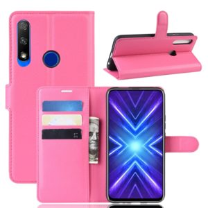For Huawei Honor 9X Fingerprint Version Litchi Texture Horizontal Flip Leather Case with Wallet & Holder & Card Slots(Rose Red)