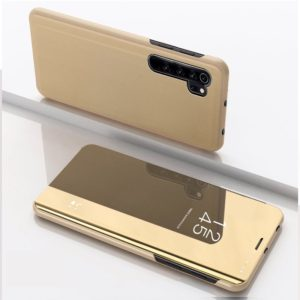 For Xiaomi Note 10 Pro Plated Mirror Horizontal Flip Leather Cover with Stand Mobile Phone Holster(Gold)