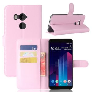 For HTC U11+ Litchi Texture Horizontal Flip Leather Case with Holder & Card Slots & Wallet(Pink)