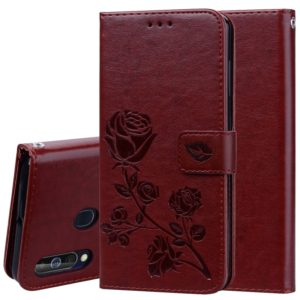 Rose Embossed Horizontal Flip PU Leather Case for Galaxy A60, with Holder & Card Slots & Wallet (Brown)
