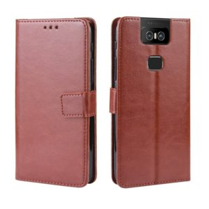 Retro Crazy Horse Texture Horizontal Flip Leather Case for Asus Zenfone 6 ZS630KL, with Holder & Card Slots & Photo Frame(Brown)