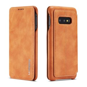 For Galaxy S10e Hon Ancient Series Leather Case with Card Slots & Holder & Wallet(Brown) (LC.IMEEKE)