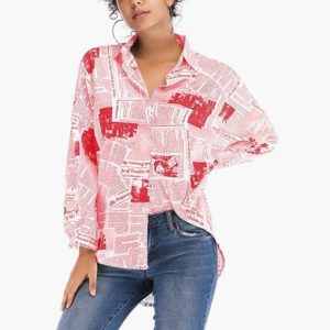 Casual Geometric Print Shirt (Color:5889 Red Size:L)