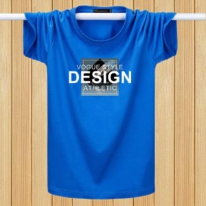 English Printing T-shirts Youth Plus Fat Loose Half-sleeved Casual Short-sleeved (Color:Royal Blue Size:XL)