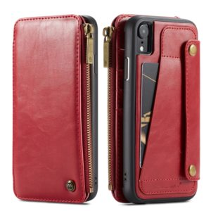 CaseMe-011 Detachable Multifunctional Horizontal Flip Leather Case for iPhone XR, with Card Slot & Holder & Zipper Wallet & Photo Frame (Red) (CaseMe)