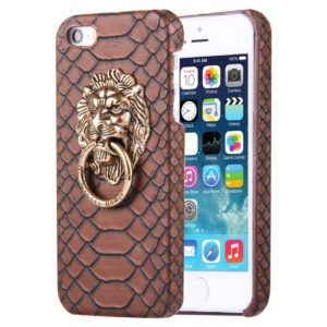 For iPhone SE & 5s & 5 Snakeskin Texture Paste Skin PC Protective Case with Lion Head Holder(Coffee)