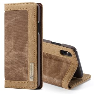 CaseMe Business Style Horizontal Flip PC + Denim Canvas Leather Case for iPhone XS Max, with Holder & Card Slots(Brown) (CaseMe)