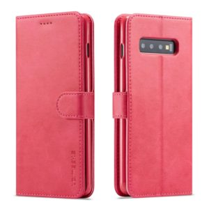 For Galaxy S10 Plus LC.IMEEKE Calf Texture Horizontal Flip Leather Case, with Holder & Card Slots & Wallet(Rose Red) (LC.IMEEKE)