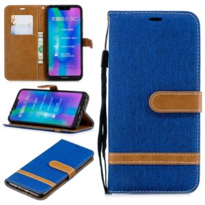 Color Matching Denim Texture Leather Case for Huawei Honor 8C, with Holder & Card Slots & Wallet & Lanyard(Royal Blue)