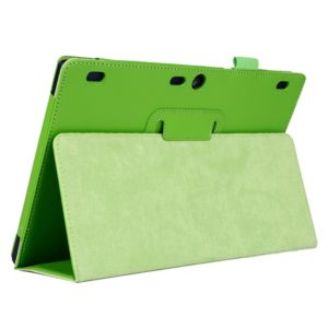 Litchi Texture Horizontal Flip Solid Color Leather Case with Two-Folding Holder for Lenovo Tab2 A10-70(Green)