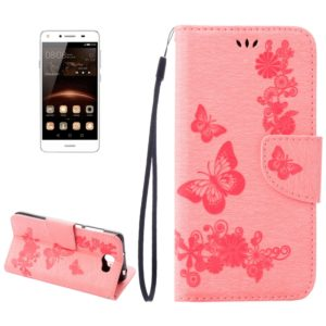 For Huawei Y5II Pressed Flowers Butterfly pattern Horizontal Flip Leather Case with Magnetic Buckle & Holder & Card Slots & Wallet(Pink)