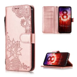 Vintage Embossed Floral Lace Flower Pattern Horizontal Flip Leather Case for Xiaomi Mi 8, with Card Slot & Holder & Wallet & Lanyard (Rose Gold)