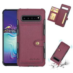 For Galaxy S10 5G Brushed Texture Shockproof PU + TPU Case, with Card Slots & Wallet & Photo Frame(Wine Red)