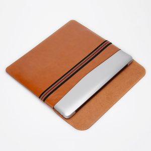 Horizontal Elastic Band Laptop Microfiber Leather Inner Bag for MacBook Pro 13.3 inch (Light Brown)